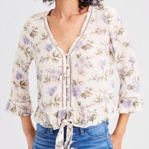 AEO Boho Flowy Floral 3/4 Bell Sleeve Top